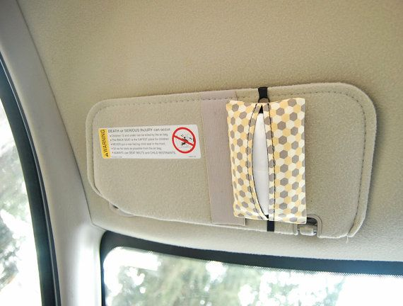 Auto Sneeze – Arrows – Visor Tissue Case/Cozy – Car Accessory Automobile Light Grey White