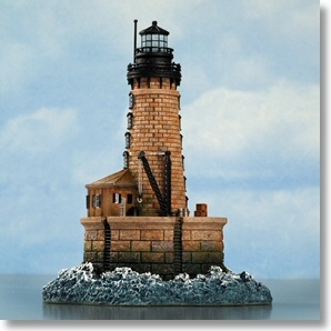 """Harbour Lights Stannard Rock, MI Lighthouse The Stannard Rock Lighthouse quickly earned the """"nick-name, """"The Loneliest Place in the World"""". Twenty-four miles from land; the """"stag-station"""" (manned only by men) is the most distant from shore of any United States Lighthouse. Limited to Only 1,200 pieces."""