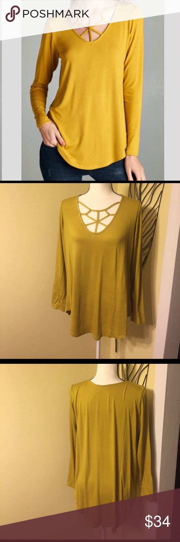 🆕 GOLD STRAPPY TOP 🆕 Brand New!!! Gold tops with strappy front detail. Made of 96% rayon and 4% spandex. Has good stretch. Cherish Tops Tunics