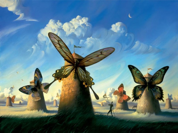 Salvador Dalí - Don Quixote and the Windmills [1945] -- WOW!  Hadn't seen this one before!