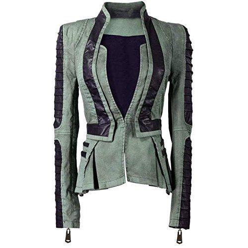 CRAVOG Damen Winter Jeans Jacke BIKER Parka Jeansjacke Blazer: