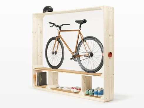 Sweet bike storage idea with all the trimmings: Bike Storage, Idea, Bike Shelf, Shelves, Design, Bicycle