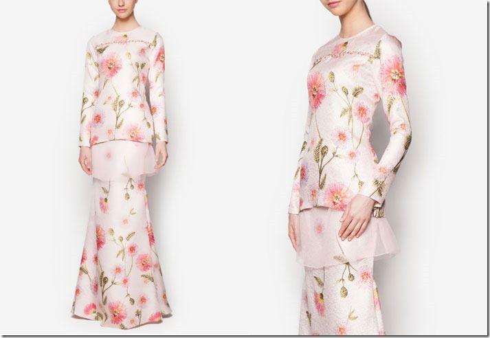 Minimalist Pastel Floral Baju Kurung Ideas For Raya 2016 / beaded-floral-kurung-modern