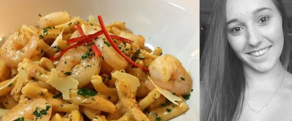 Angelo's Fresh Pasta Products | Spicy grilled prawns with Contadina a la vodka by Emma Cutri
