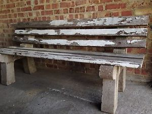 Old Vintage Reclaimed Concrete and Timber Wood Garden Bench