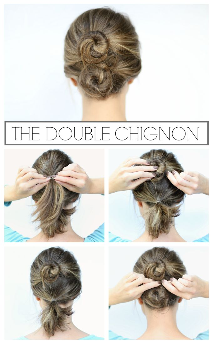 The double chignon - perfect for shorter & layered hair! #moreisbeautiful #rogainevavavoom