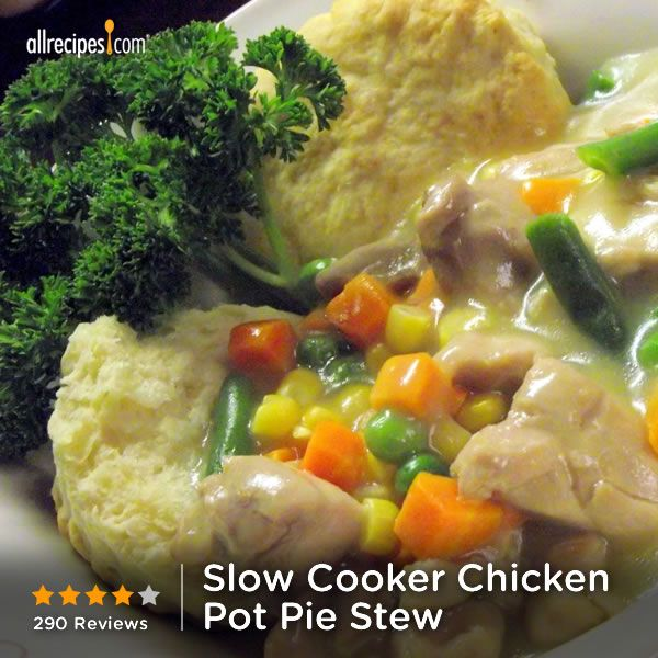 """Slow Cooker Chicken Pot Pie Stew 