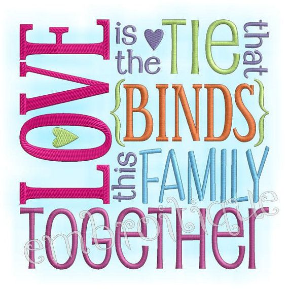 Love is the tie that binds this family together - home decor - 3 sizes 4x4 5x7 and 6x10