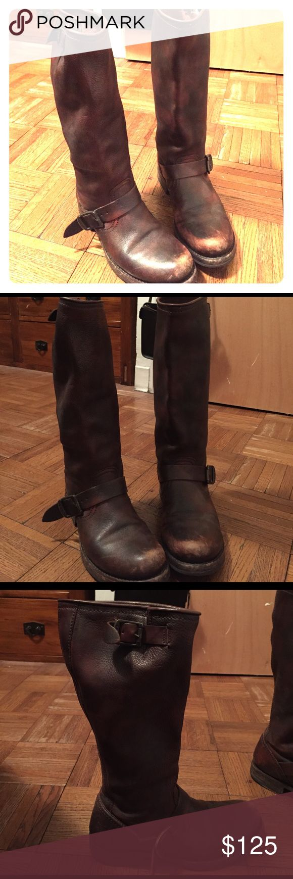 Frye Riding boots Distressed leather Frye riding boots - mid-calf with buckle with almost an inch heel Frye Shoes Heeled Boots