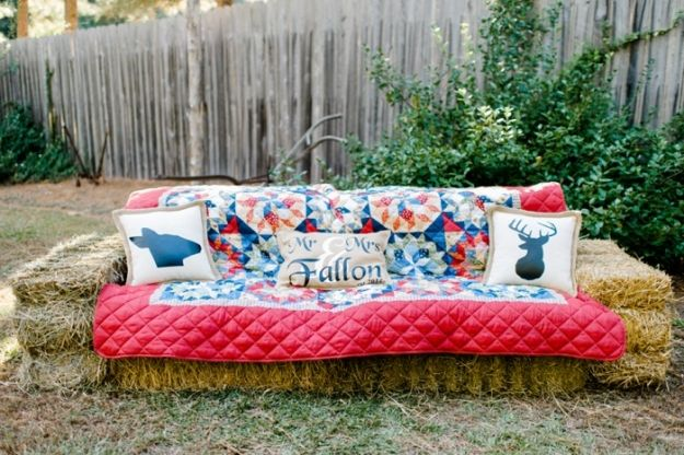 Rustic fall wedding ideas. hay bale couch.