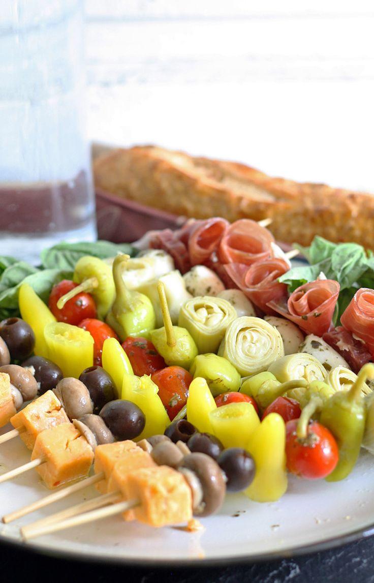 Perfect for picnics - antipasto skewers