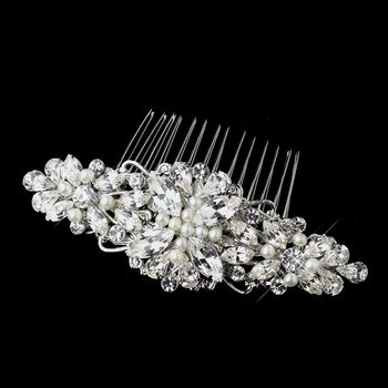 Antique Silver Rhodium Clear Rhinestone & Ivory Pearl Floral Comb. Make it yours: http://styleyourday.com.au/products/Antique_Silver_Rhodium_Clear_Rhinestone_Ivory_Pearl_Floral_Comb-803-111.html #bridalhair #bridalhairaccessories