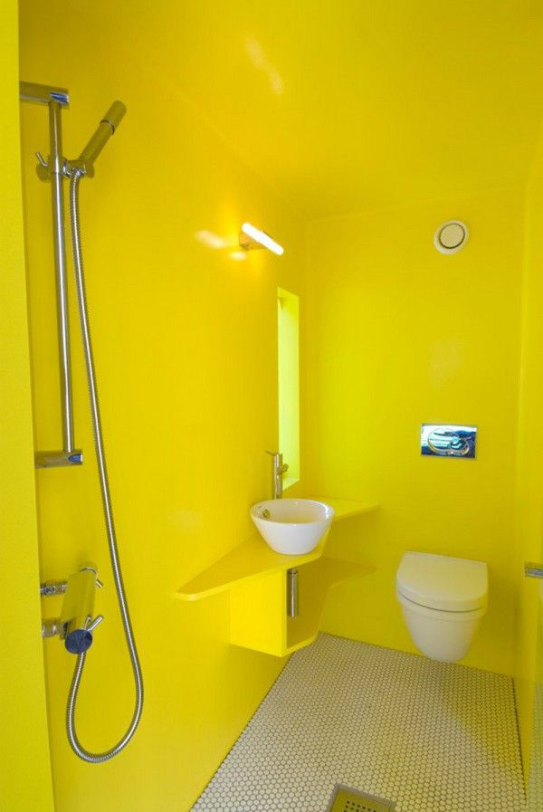Image of Exquisite Yellow Paint Colors for Bathroom with Round Porcelain Bowl Vessel Sink and Chrome Finish Faucets Under Rectangle Frameless Mirror also Wall Mount Light Fixtures also Bathroom Floor Tile Design Ideas Bathroom Tub Designs Modern Bathroom Shower Design Ideas Country Style Bathroom Vanity No Tub Bathrooms