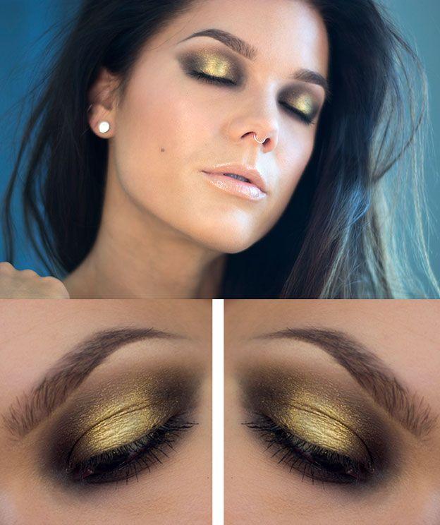 Золотой макияж для серых глаз фото