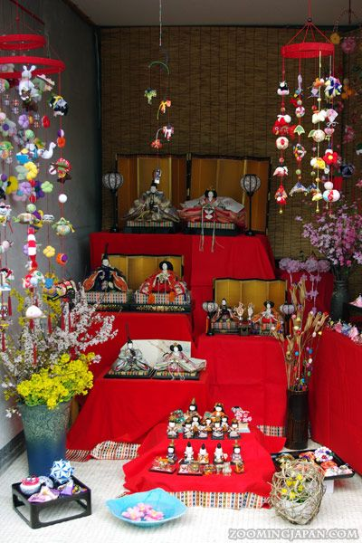 """Hina Matsuri Festival (March 3rd) is a holiday to celebrate girls. On this day families display a set of hina dolls called """"Hina ningyou"""" and pray for girl's happiness and healthy growth."""