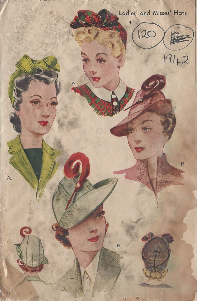 """1942 Vintage Sewing Pattern HAT S22"""" (120) #McCall"""