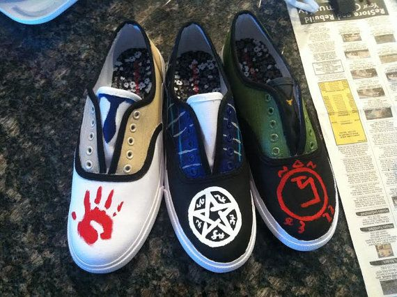 Supernatural Fandom Shoes Dean Cas Sam by PaintsandRibbons on Etsy