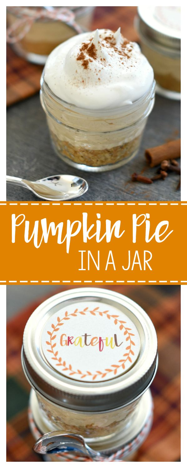 Mini Dessert for Thanksgiving-A Pumpkin Pie in a Jar! Great as a Thanksgiving Gift Idea or for your Thanksgiving Table
