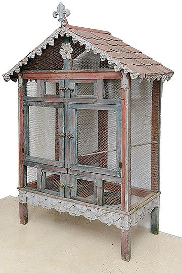 French Vintage Bird Cage with Zinc Roof