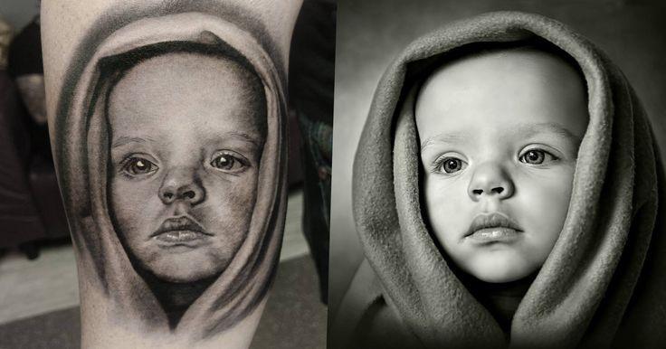 #blanket #baby #portrait #realistic #tattoo #ink #amazing #awesome #skills #machine #Dublin #Ireland