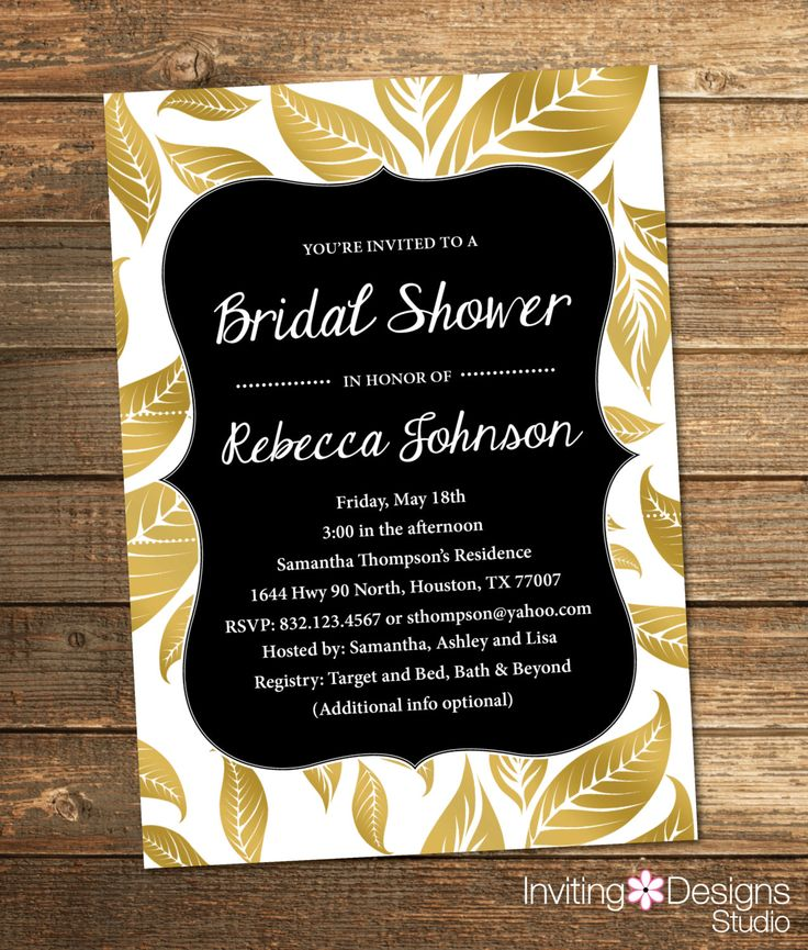 Bridal Shower Invitation Gold and Black Leaves