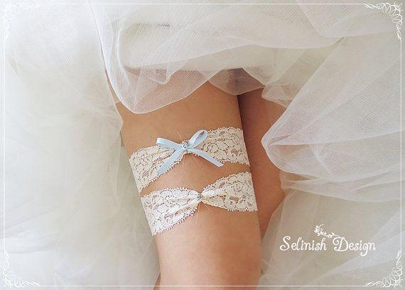 Ivory Wedding Garter Set Lace Rhinestone Garter by SelinishDesign