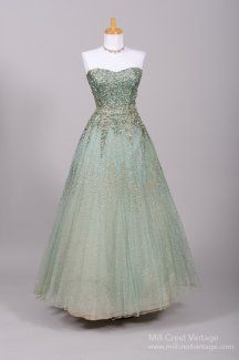 1950's Sea Foam Green Sequin Encrusted Vintage Ball Gown