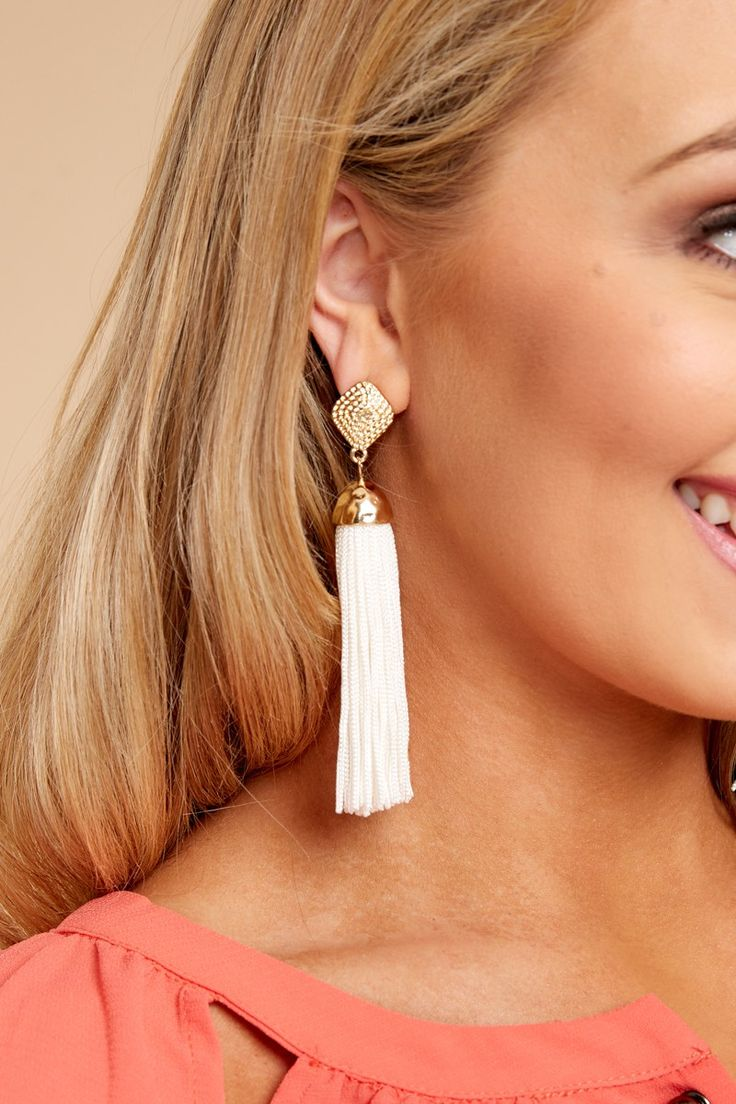 1 Request More Time White Tassel Earrings at reddressboutique.com
