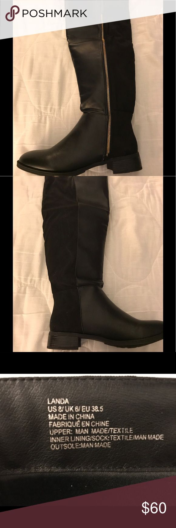 Shoe Dazzle tall black boots NIB Black leather/suede tall boots. I bought these from another Posher but my calf are to big for them. Love them and bummed they don't fit ☹️ Shoe Dazzle Shoes Over the Knee Boots