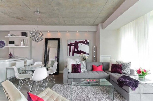 Chic And Beautiful Purple Decor Accents Ideas In White Room Colour With Purple Pillow Design