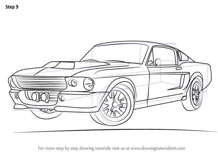 Learn How To Draw A 1968 Mustang Sports Cars Step By Step Drawing Tutorials Car Drawings 1968 Mustang Mustang Drawing