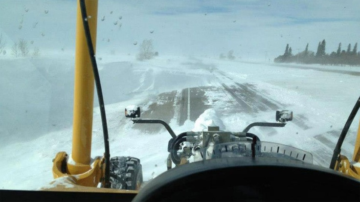 March 21,2013 On Thursday, crews were clearing away snowdrifts on the Trans-Canada Highway near Belle Plaine, which is between Regina and Moose Jaw. (Highway Hotline/Morsky Construction)