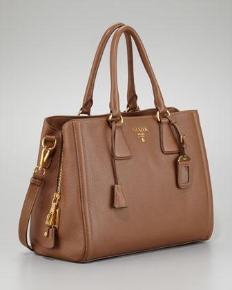 Prada Cervo Center Zip Tote Bag, Cammello - Bergdorf Goodman