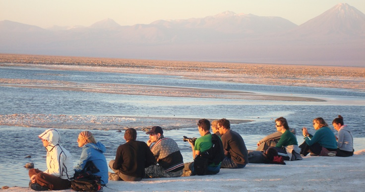 San Pedro de Atacama: Chaza Lagoon, Chile. Nothing like enjoying a beautiful sunset with your traveler friends.