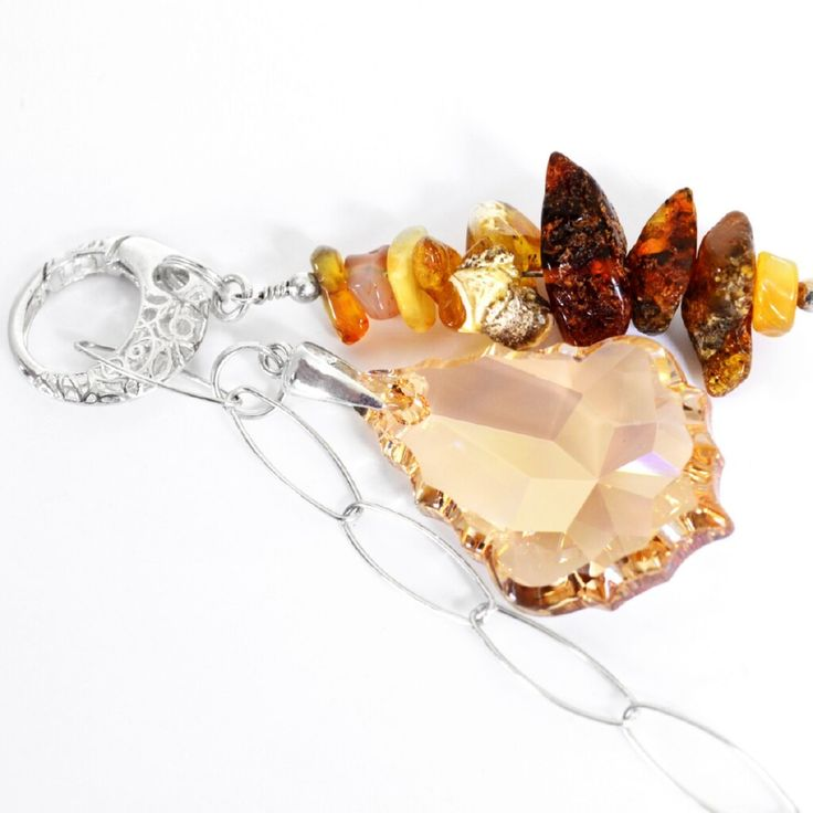 Glamour Swarovski & Amber Necklace