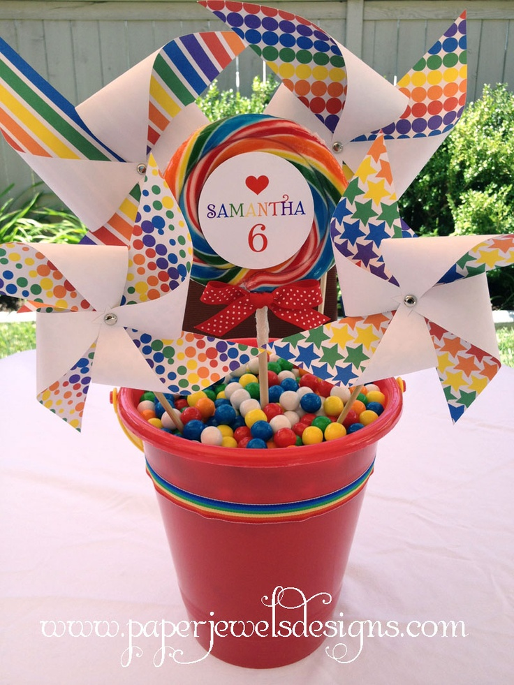 Rainbow birthday party centerpiece idea pinwheels in a for 2nd birthday decoration
