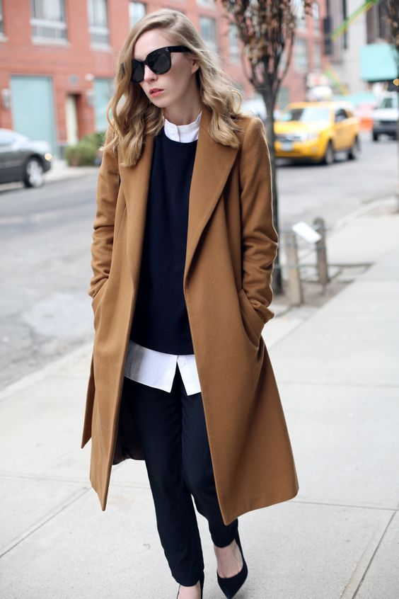 camel coat (worn with navy crew knit and white shirt)