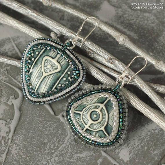Ethnic beaded earrings Celtic viking jewelry Geometric large
