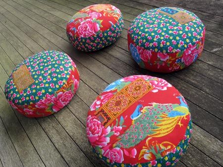 hill tribe, hill tribes, vietnam, fabric, pouf, pouffe, poufs, pouffes, ottoman, ottomans, floor cushions, zafu, embroidery, vintage, hmong, chinese, ethnic, red, green, floral, geometric, Lucy Patterson