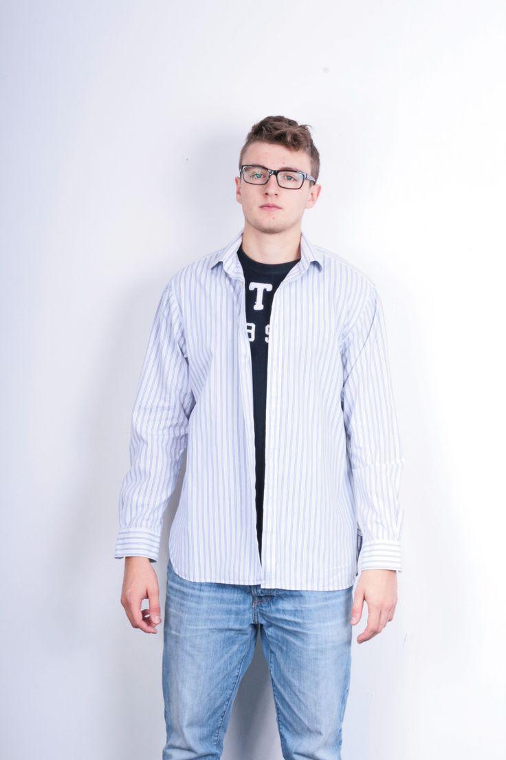 Jaeger London Mens 16.5 L XL Casual Shirt Striped White Cotton