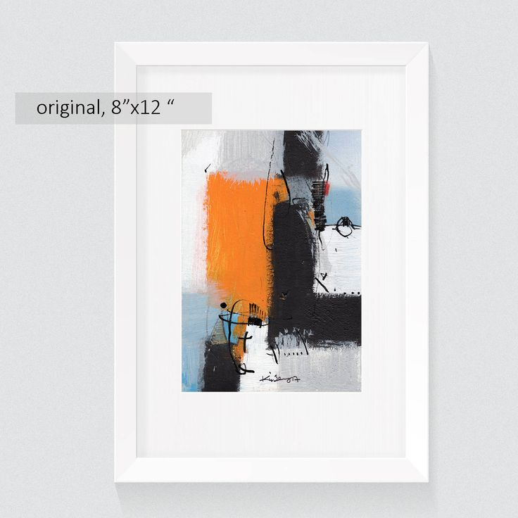 Original abstract paintings 8x12 inch with mat, abstract acrylic paintings on paper, wall art abstract, yellow wall decor original pictures by kuzennyArt on Etsy