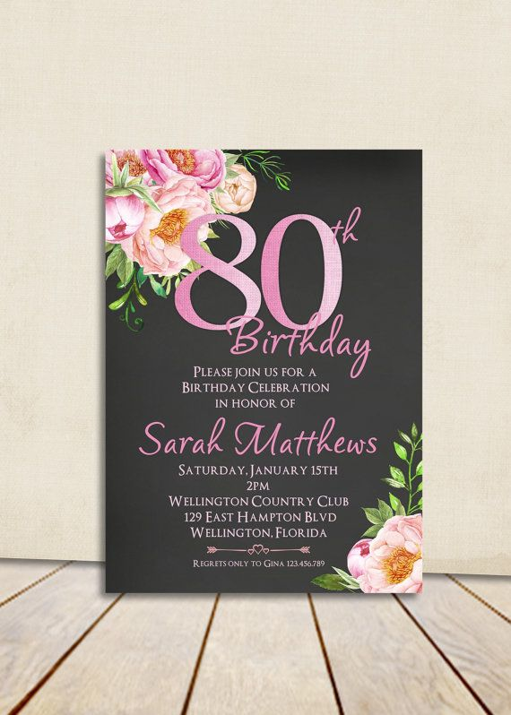 Cottage Chic Peony Chalkboard 80th Birthday by 3PeasPrints on Etsy
