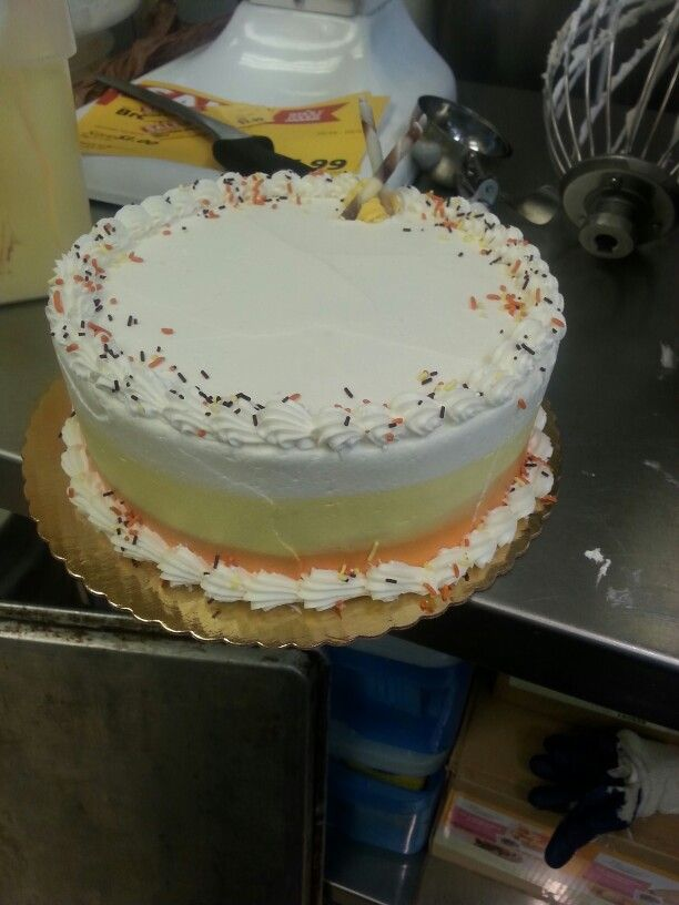 Halloween candy corn theme cake deco