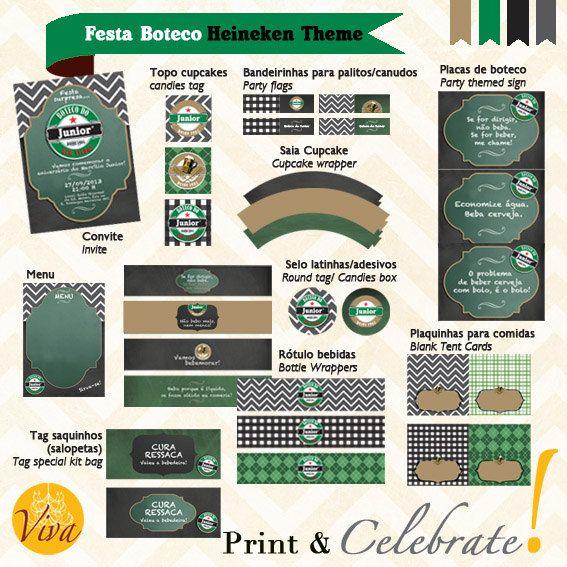 Bar Party Heineken Theme  Custom Printable by VivaPrintCelebrate