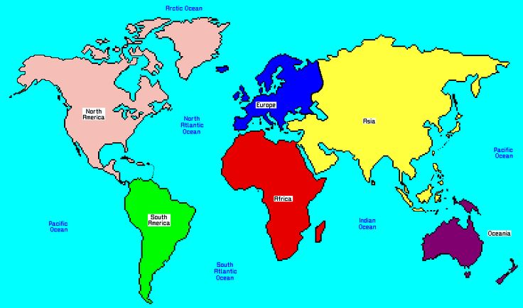 World Map Continents And Oceans Map Of Continents Girl Scout - World map continents and oceans