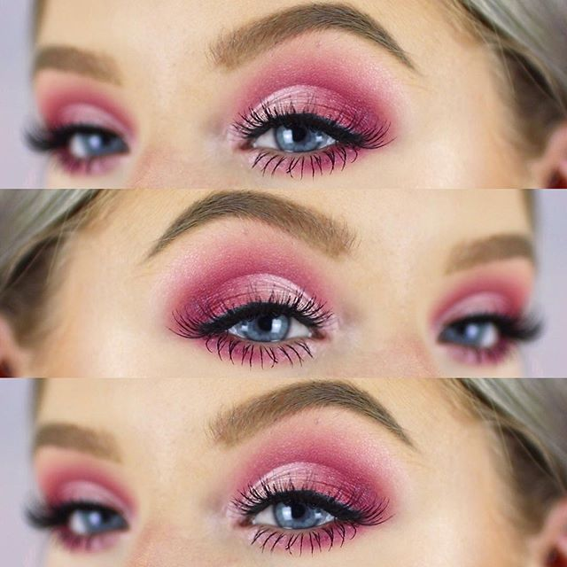 WEBSTA @ sophdoesnails - Pink half cut crease __________________________________________#nyxcosmetics Total control foundation#maybelline Fit me concealer#makeuprevolution Pro HD Eyes and Contour palette, Brow pomade in Taupe#thebalmcosmetics #thebalm Mary Lou Manizer #soapandglory Supercat Skinny liner to blend lashes#eylure #lashes 117 lashes