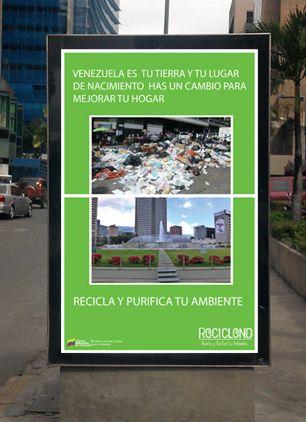 Montaje de vaya de la Publicidad de RECICLEND sobre la concientización del reciclaje en la ciudad e Caracas