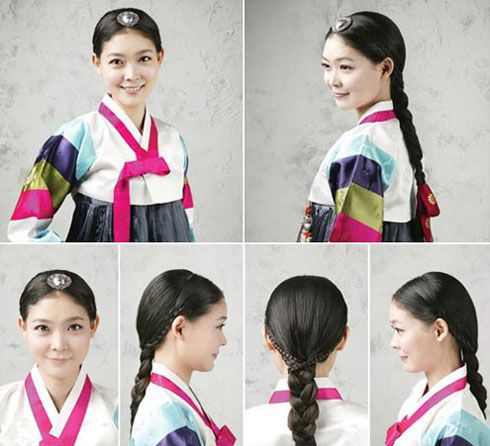 Traditional Hairstyles for Modern Beauties  * Plaited-braids: The plaited-braid was only allowed for unmarried women in the Joseon Dynasty (1392-1910). The three-strand braid is tied with a long, red pigtail ribbon (daenggi) at the end, while an ornamental piece (baesssi daenggi) decorates the hair.