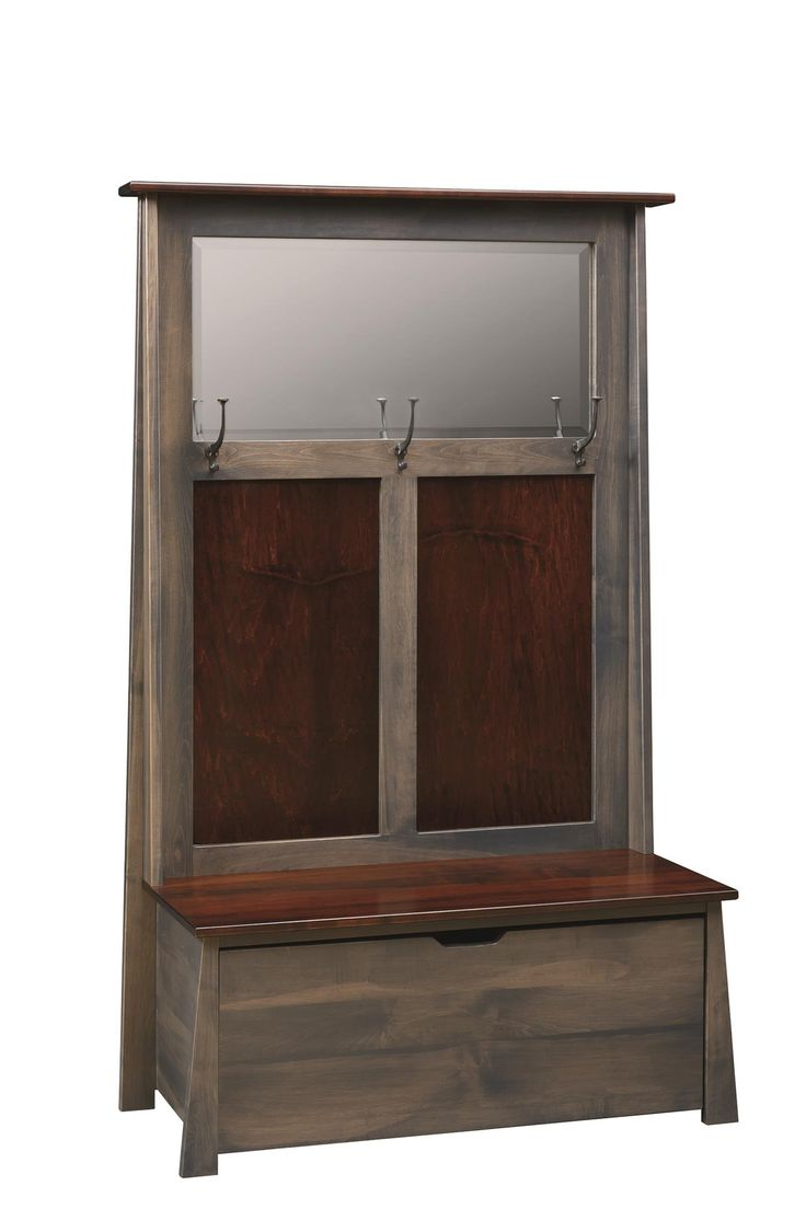 Amish Craftsmans Hall Seat with Beveled Mirror Offer guests a place to hang up coats and store bags in the Amish Craftsmans Hall Seat. Amish made in America.
