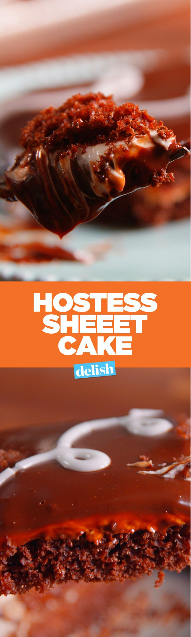 Hostess Sheet Cake is basically a giant Hostess cupcake, and it's awesome. Get the recipe on Delish.com.